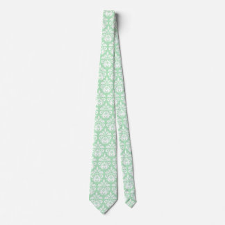 Elegant vintage mint green and white damask tie