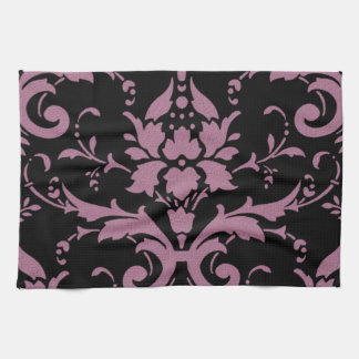 Elegant Vintage Modern Purple Damask on Black Towe Towels