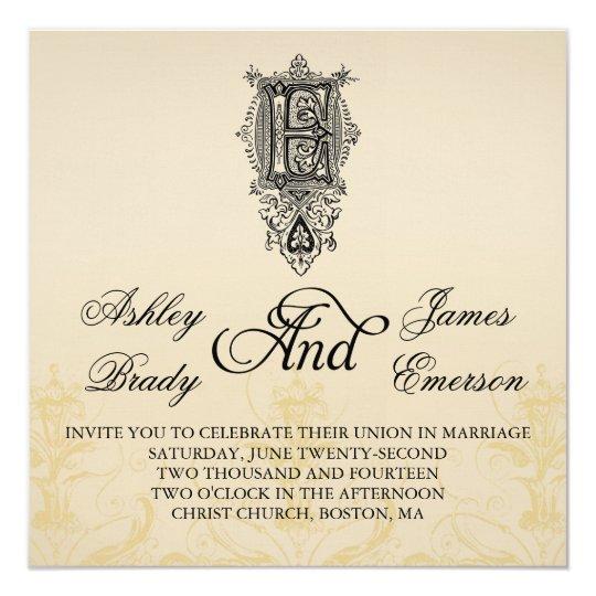 elegant vintage monogram e wedding invitations