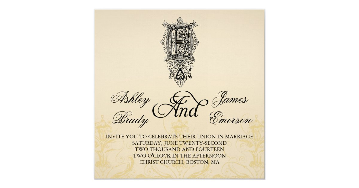 Elegant Monogram Wedding Invitations: Elegant Vintage Monogram E Wedding Invitations