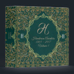 """Elegant Vintage Monogram Genealogy Album Binder<br><div class=""""desc"""">This beautiful dark teal green blue ornate vintage genealogy family tree album binder has your personalized monogram initials and family name on the front cover. Store your ancestor photos and family tree documents safely in this wonderful album.</div>"""