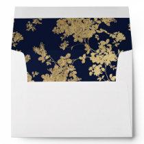 Elegant vintage navy blue faux gold flowers envelope