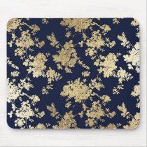 Elegant vintage navy blue faux gold flowers mouse pad