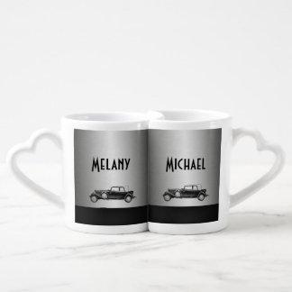 Elegant vintage old car silver / add name coffee mug set