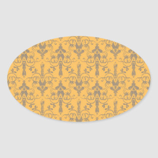 Elegant Vintage Orange Gray Damask Floral Pattern Oval Sticker