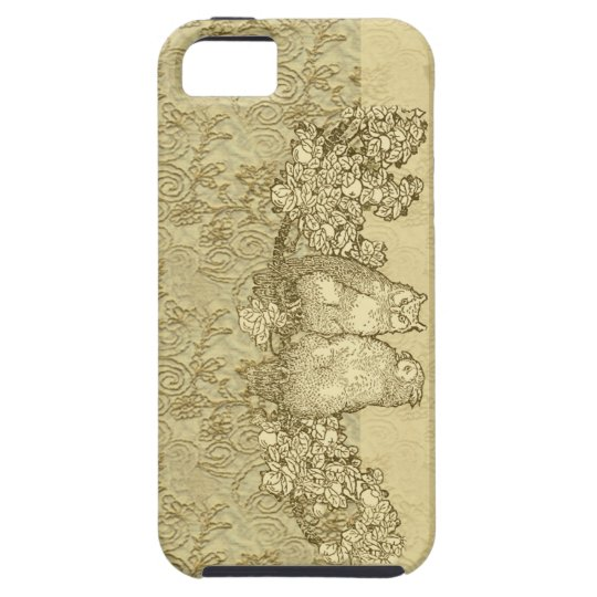 Elegant Vintage Owls Damask Print iPhone SE/5/5s Case