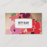 """Elegant Vintage Painted Floral Art Designer Business Card<br><div class=""""desc"""">A sophisticated and artistic digital painting of colourful flowers in vivid hues of red,  purple,  green,  turquoise and pink.  Retro style font gives a glamorous,  stylish flare.  Also great for florists and gardening specialists. DIGITAL image of gold foil background - NOT real gold foil or gold leaf.</div>"""