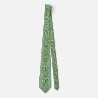 Elegant Vintage Paisley Pattern Mint-green & Gold Tie