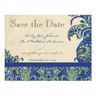 Elegant Vintage Paisley Wedding Save the Date Post Card