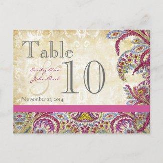 Elegant Vintage Paisley Wedding Table Number postcard