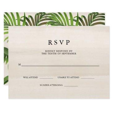 Beach Themed Elegant Vintage Palm Leaves | Wedding RSVP Card