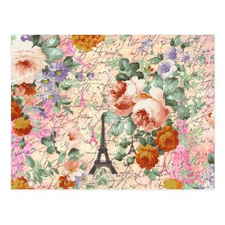 Elegant Vintage Paris Eiffel Tower Cute Roses Postcard