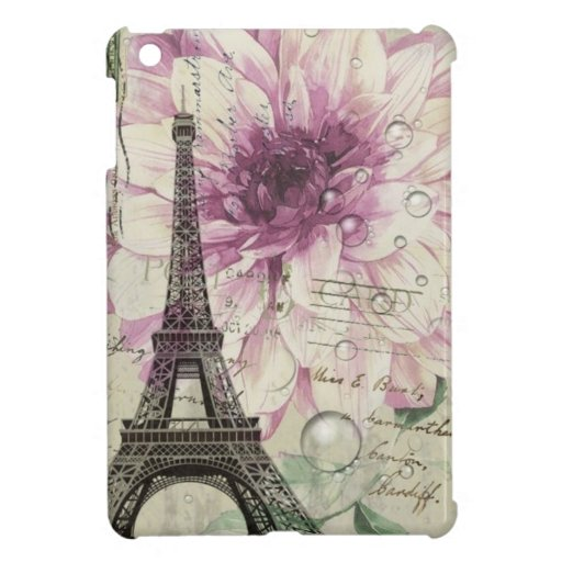 elegant vintage paris eiffel tower floral case for iPad mini
