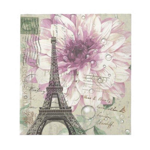 elegant vintage paris eiffel tower floral memo pad