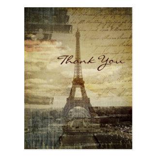 elegant  vintage paris wedding thank you postcard
