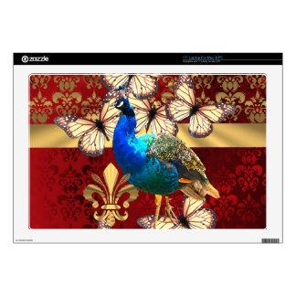 """Elegant vintage peacock and red  damask 17"""" laptop skins"""