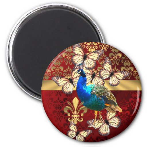 Elegant vintage peacock and red  damask 2 inch round magnet