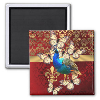 Elegant vintage peacock and red  damask 2 inch square magnet