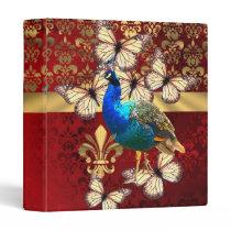 Elegant vintage peacock and red  damask binder