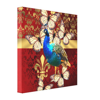 Elegant vintage peacock and red  damask canvas print