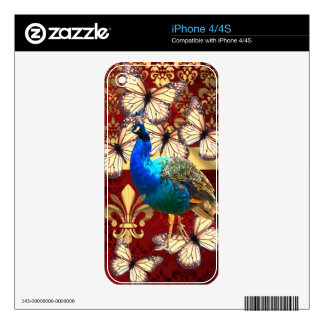 Elegant vintage peacock and red  damask decals for iPhone 4