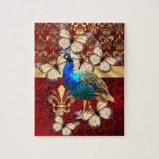 Elegant vintage peacock and red  damask jigsaw puzzle