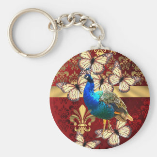Elegant vintage peacock and red  damask keychain