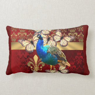 Elegant vintage peacock and red  damask lumbar pillow