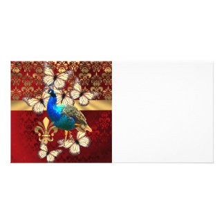 Elegant vintage peacock and red  damask photo card