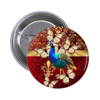 Elegant vintage peacock and red  damask pinback button