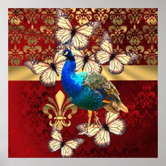 Elegant vintage peacock and red  damask poster