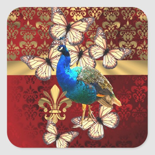 Elegant vintage peacock and red  damask square sticker