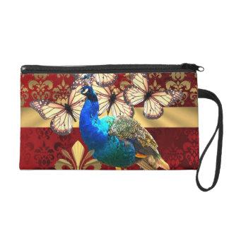 Elegant vintage peacock and red  damask wristlet purse