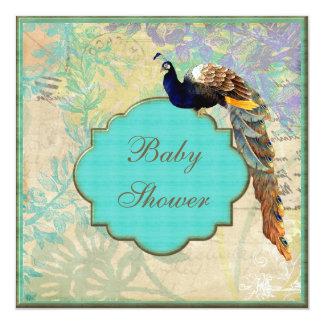 Elegant Vintage Peacock Baby Shower Card