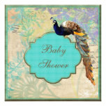 Elegant Vintage Peacock Baby Shower Personalized Invite