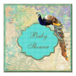 "Elegant Vintage Peacock Baby Shower 5.25"" Square Invitation Card"