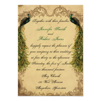 Elegant Vintage Peacock Posh Wedding Invitation