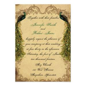 Elegant Vintage Peacock Posh Wedding Invitation 5