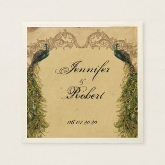 Elegant Vintage Peacock Posh Wedding Napkin Standard Cocktail Napkin