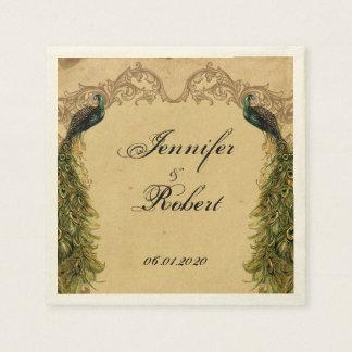 Elegant Vintage Peacock Posh Wedding Napkin Paper Napkin