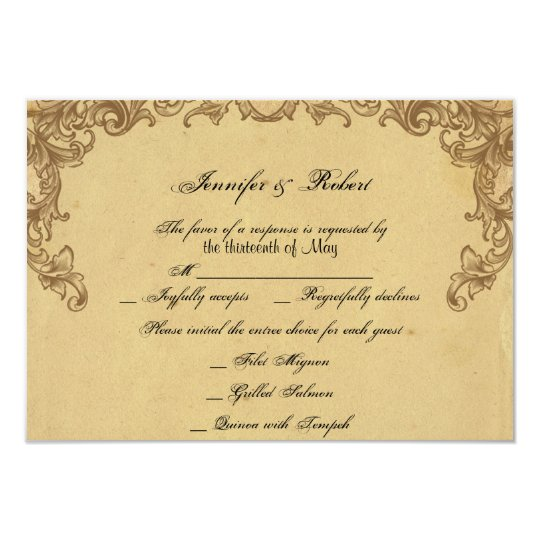 Elegant Vintage Peacock Posh Wedding Response Card