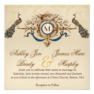 Elegant Vintage Peacock Square Wedding Invitations