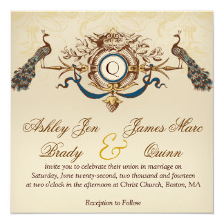 "Elegant Vintage Peacock Square Wedding Invitations 5.25"" Square Invitation Card"