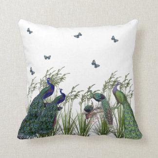 Elegant, Vintage Peacocks and Butterflies, Custom Throw Pillow