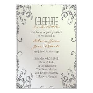 elegant vintage pearl floral peacock wedding 5x7 paper invitation card