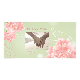 elegant vintage Peonies floral wedding thankyou Photo Card
