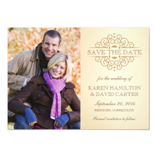 "Elegant Vintage Photo Save the Date Announcements 4.5"" X 6.25"" Invitation Card"