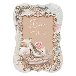 Elegant Vintage Pink and Teal Blue Bridal Shower Card