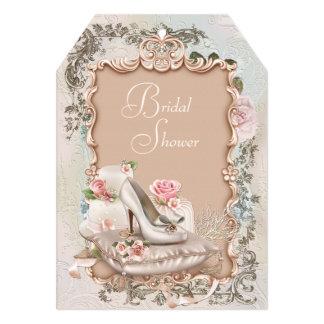 Elegant Vintage Pink and Teal Blue Bridal Shower Personalized Invite