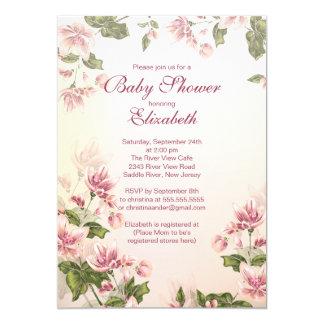 Elegant Vintage Pink Blossom Floral Baby Shower Card